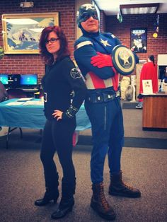 Black Widow and library director Captain America