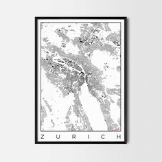 Zurich city map art Poster - Art posters and map prints of your favorite city. Unique design of a map. Perfect for your house and office or as a gift.