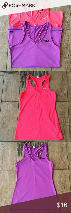 FILA RACERBACK BUNDLE 👟2 Fila racerback tanks 👟Orangy/pink and purple 👟Pink one is a small with Fila wording peeling a little 👟Purple is A small 👟Both 88% polyester, 12% spandex 👟No rips or stains 👟Smoke free home  WILL SEPARATE Fila Tops Tank Tops