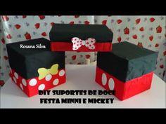 Idéias para festa de ANIVERSÁRIO MICKEY e MINNIE DISNEY Porta doce, bolos e cupcakes festa de aniversario de criança ensinando no passo a passo usando caixa ...