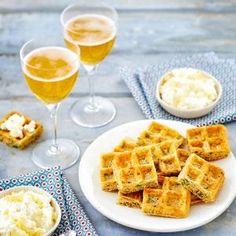 Mini gaufres au cidre, gingembre, coriandre et dip de cottage cheese au citron…