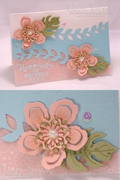 modern floral birthday card using Stampin Up Botanical Blooms stamp & die bundle & Birthday Blooms sentiment. Made for Just Add Ink colour challenge 297 by Di Barnes #colourmehappy297 2016 Occasions & Saleabration catalogues