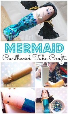Toilet Paper Roll Mermaids. Cardboard Tube Mermaid craft. Paper Roll Craft Ideas. Love this adorable recycled mermaid craft for summer #preschool #mermaids #toiletpaperolls #cardboard