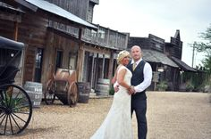 Cedar Creek's authentic Western Town is a scene favorite for many brides and grooms. The onsite brewery is a big hit for the wedding party shots too.