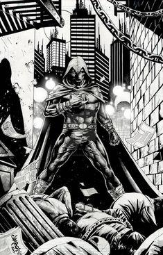 Moon Knight by Jimbo Salgado Spiderman, Batman, Marvel Moon Knight, Comic Art, Comic Books, Knight Art, Marvel Wallpaper, Ghost Rider, Great Artists