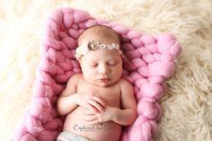 Newborn Photographer Riverside, CA www.capturedbyerin.com  bump blanket, newborn picture, newborn girl, headband, props