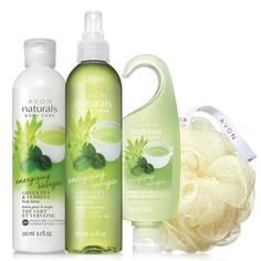 """Sparkling scents of green tea bud and sweetly scented verbena blend with spicy ginger for an invigorating, fresh fragrance. Leaves skin feeling soft and nourished. A $20 value, the set includes: Body Lotion – 8.4 fl. oz. A $6 value. Body Spray – 8.4 fl. oz. An $8 value. Shower Gel – 5 fl. oz. A $4 value. Avon Shower Pouf – 5"""" diam. A $1.99 value. https://lynnecalhoun.avonrepresentative.com/"""