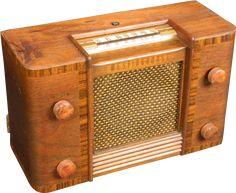 Beautiful 1946 Westinghouse AM radio. Rare wood version - most are plastic. Has phono jack too. The performance of this radio matches its Wardrobe Laminate Design, Radio Icon, Old Stove, Retro Radios, Timber Wood, Cool Tones, Tv On The Radio, Vintage Wood, Vintage Designs