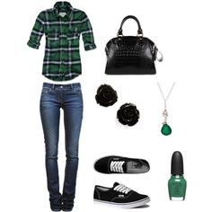 Forest Flannel Outfit, created by doobuladoobsington on Polyvore
