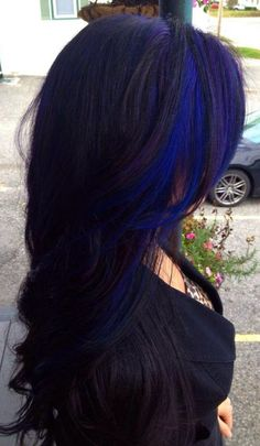 Black hair with cobalt blue peek a boo.