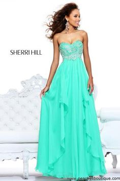 Long teal prom dress