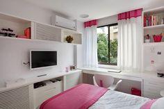 (Foto: MCA Estúdio/Divulgação) Small Rooms, Small Apartments, Small Spaces, Home Bedroom, Bedroom Decor, Bedrooms, Dream Rooms, New Room, Girl Room