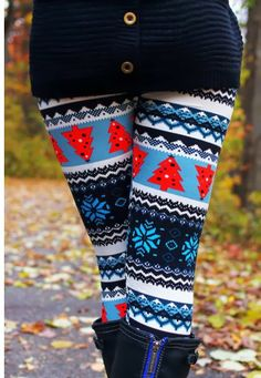 Amazing Red Pine Tree Patterned Tights with Shades of Blue, Christmas Tights