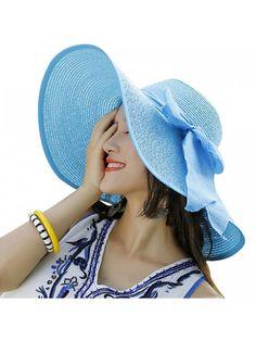 Women Floppy Hat Big Bowknot Straw Hat Wide Brim Beach Hat Sun Hat - Sky  Blue - CL17YDYDLGU dd996ce8c1fe