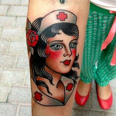 42 New Ideas For Tattoo Old School Design Traditional Styles Half Sleeves Mom Tattoos, Trendy Tattoos, Sleeve Tattoos, I Tattoo, Nurse Tattoos, Tatoos, Crazy Tattoos, Tattoo Pics, Traditional Tattoo Nurse
