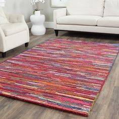 Safavieh Handmade Nantucket Pink/ Multi Cotton Rug (5' x 8') - Overstock™ Shopping - Great Deals on Safavieh 5x8 - 6x9 Rugs