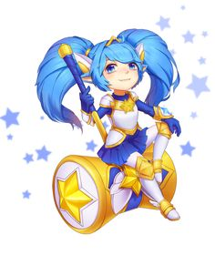 alternate costume animal ears armor armored boots armored dress blue eyes blue hair boots fang hair ornament hammer highres kezi league of legends long hair looking at viewer magical girl matching hair/eyes pointy ears poppy sitting skirt solo star s Champions League Of Legends, Lol League Of Legends, League Of Legends Charaktere, Fanart, Star Guardian Poppy, Poppy League, Armor Boots, Awsome Pictures, Legend Images
