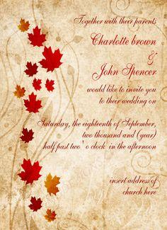 Printable Rustic Fall Leaves Fall Wedding Invitations By MGDezigns