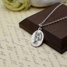 Catholic Jewelry, Prayer Cards, Patron Saints, Initial Charm, Initials, Handmade Jewelry, Pendant Necklace, Pearls, Chain