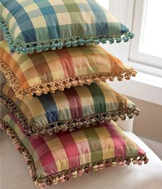 Country Curtains Moire Plaid Trimmed Pillows . . . can add a touch of plaid to any room.