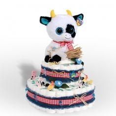 cow diaper cake