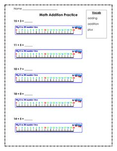Addition Number Line Worksheet -Primary