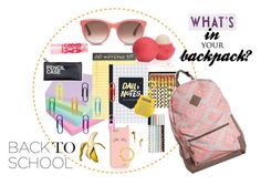 """What's in your backpack?"" by divaliscious-674 ❤ liked on Polyvore featuring interior, interiors, interior design, home, home decor, interior decorating, Avery, Kate Spade, TOMS and Eos"
