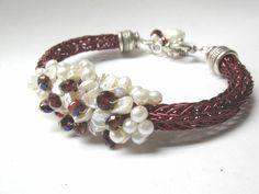 Encrusted Pearl Viking Knit Bracelet. $75.00, via Etsy.