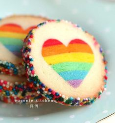 """""""Make These Rainbow Heart Cookies And Prove You're Truly In Love"""" Valentine Rainbow Heart Cookies - Eugenie Cookies"""
