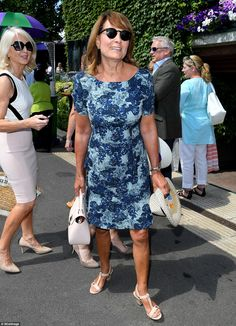 Carole Middleton kept her cool in a blue floral dress and dark sunglasses for her second visit to Wimbledon this afternoon Carole Middleton, Middleton Family, Kate Middleton Prince William, Pippa And James, Kate And Pippa, Andy Murray Wimbledon, Wimbledon 2017, Shady Lady, Mint Dress
