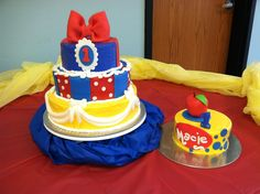 Snow White / 1st Birthday Cake - I made this cake for my niece's first birthday. The cakes are covered with buttercream icing with fondant decorations.