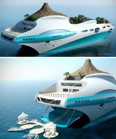 Somewhere between crazy and kitsch, this monster of the sea features its own miniature volcano, flowing waterfall, mountain stream, and valley pool flanked by a series of small bamboo huts and shelter-providing palm trees, all set upon (and concealing) a cruise-ship-style deck.