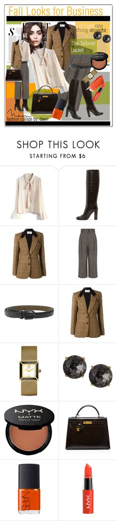 """""""Fall Look The Fitted Jacket"""" by dawn-lindenberg ❤ liked on Polyvore featuring Chicwish, Lanvin, Rodarte, Pink Tartan, COWBOYSBELT, Tory Burch, Emily & Ashley, NYX, Hermès and NARS Cosmetics"""