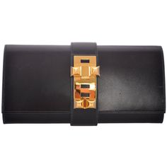 Preowned Hermes 29cm Medor Clutch Box Calf Black Gold Hardware... ($8,900) ❤ liked on Polyvore featuring bags, handbags, clutches, black, horse handbags, mini purses, hermes pochette, pre owned purses and mini handbags