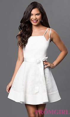 Ivory Spaghetti Strap A-Line Dress with Lace Skirt at PromGirl.com
