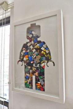 Lego wall art. Great way to recycle these old toys!