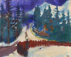 Emil Nolde (1867-1956) Bewaldete Berglandschaft - Mountain Forest Landscape (1930)