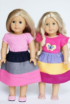 18-inch doll version of the three stripes Oliver + S Lazy Days Skirt