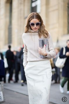 Olivia Palermo in a beige ensemble