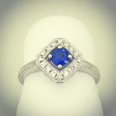I love the little bit of space between the sapphire and the halo. I think this is one of the sweetest rings in the store.  www.williamcrow.com