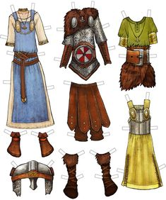 Example of Thyra Danebod clothes from Vikings of Legend and Lore Paper Dolls Book by Kiri Østergaard Leonard.