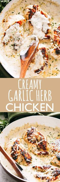 Creamy Garlic Herb Chicken Recipe - Pan-seared chicken breasts prepared with a creamy garlicky herb sauce. Flavorful quick weeknight dinner prepared in one pan and in 30 minutes! Creamy Garlic Herb C Herb Chicken Breast Recipe, Herb Chicken Recipes, Chicken Breast Recipes Dinners, Creamy Chicken Breast Recipes, Chicken Recipes With Cream Cheese, Chicken Breast Cream Cheese, Heavy Cream Chicken Recipe, Recipe Chicken, Chicken With Coconut Milk
