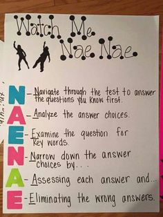 Test Taking Strategies -CAPTION: I think that it is important to include things that your students are interested in when teaching strategies. Acronyms are much easier to remember when it has a meaning to them. Test Taking Skills, Test Taking Strategies, Teaching Strategies, Teaching Ideas, Test Strategy, Comprehension Strategies, Student Teaching, Teaching Reading, Teaching Tools