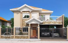 Modern Bungalow House Design With Three Bedrooms - Ulric Home Two Story House Design, Double Story House, Small House Design, Modern House Design, Modern Houses, House Plans Design, Modern Bungalow House Plans, Bungalow House Design, One Storey House