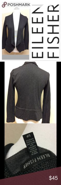 """S EILEEN FISHER textured grey/black cardigan Brand: Eileen Fisher Measurements taken laying flat: pit to pit 17.5"""" Shoulder to hem: approximately 21"""" Size: small Material: 34% micromodel, 33% cotton, 33% polyester  Features: textured pattern, collar, soft material  EUC Eileen Fisher Sweaters Cardigans"""