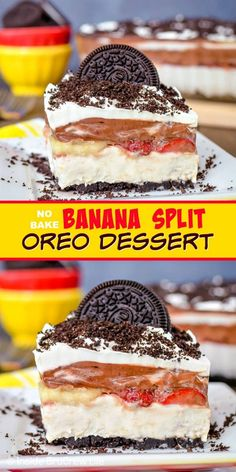No Bake Banana Split Oreo Dessert - layers of banana cheesecake, chocolate pudding, and fresh fruit makes an amazing no bake dessert. Make this easy recipe for summer picnics and parties! Desserts No Bake Banana Split Oreo Dessert No Bake Oreo Dessert, Oreo Dessert Recipes, Banana Recipes, Sweet Desserts, No Bake Desserts, Easy Desserts, Delicious Desserts, Picnic Desserts, Chocolate Pudding Desserts