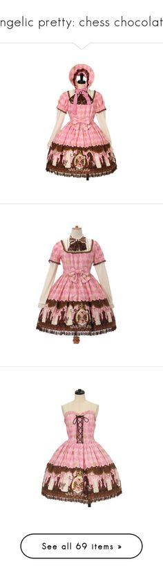 """angelic pretty: chess chocolate"" by scoutvenus ❤ liked on Polyvore featuring bows, accessories, jewelry, brooches, lolita, dresses, pink, angelic pretty, polish dress and wetlook dress"