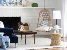 Hanging Rattan Chair from Emily Henderson >> This is fantastic! I would love to have this in my home.