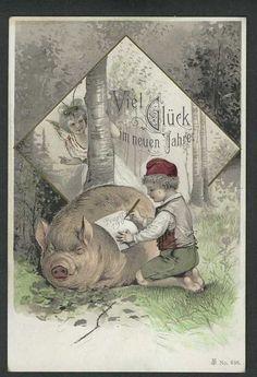 NEW Year Greetings  PIG Boy Writes Note Fairy #NewYear
