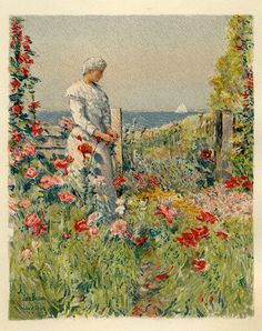Celia Thaxter in her garden, painting by Childe Hassam, from An Island Garden